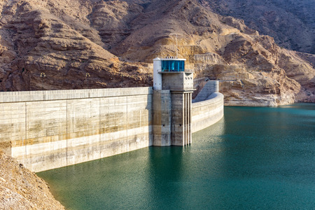 Dam Water reservoir in the mountains of Oman Stock Photo