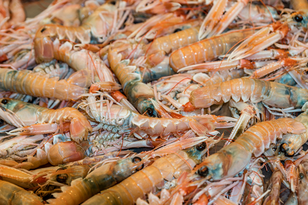 Seafood at the fish market Stock Photo