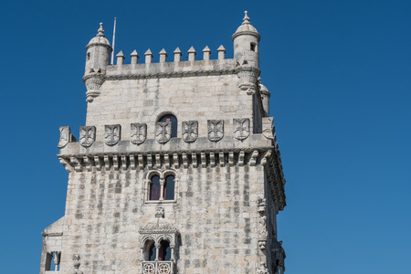 Belem Tower on the Tagus river, famous city landmark in Lisbon, Portugal. Editorial