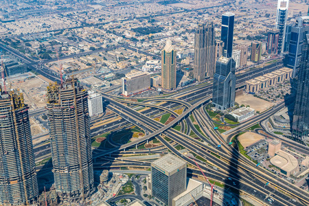 Dubai downtown day scene with city lights, luxury new high tech town in middle East, United Arab Emirates architecture
