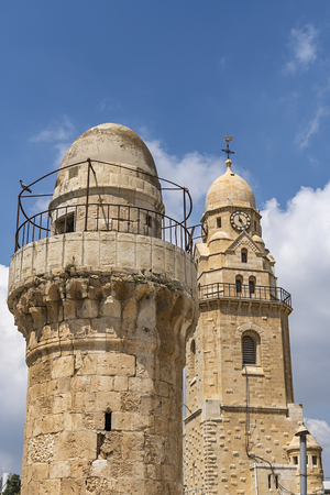 The high minaret of the Ottoman Mosque, located inside the Davids Tower, Jerusalem, Israel
