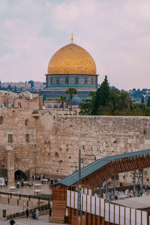 West Wall in Jerusalem with a view of the Dome of the Rock, Israel