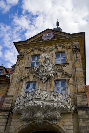 Landmark of Bamberg Upper bridge and Old Town Hall townhall, Germany, Bavaria Stock Photo