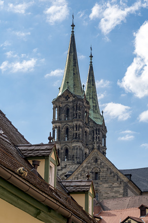 View of the historic cathedral of St. Peter of Bamberg in Bavaria, Germany