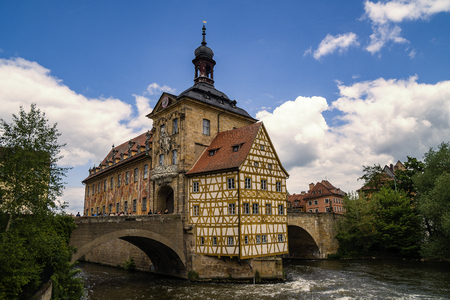 Landmark of Bamberg Upper bridge and Old Town Hall townhall, Germany, Bavaria Editorial
