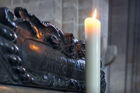 Sacrificial candle in Bamberger Dom, Germany Stock Photo