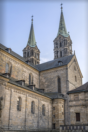 View of the historic cathedral Sankt Peter of Bamberg in Bavaria, Germany