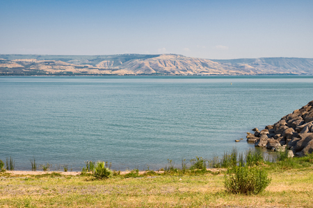 Sea of Galilee taken from north part near Capernaum Stock Photo