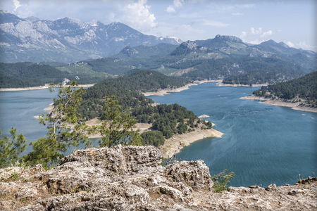 Beautiful view from the mountain lake Manavgat in Turkey Reklamní fotografie