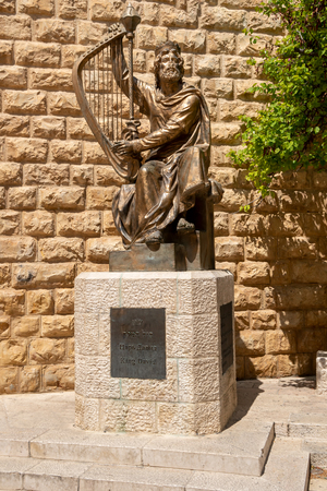 Statue of King David with harp in Jerusalem