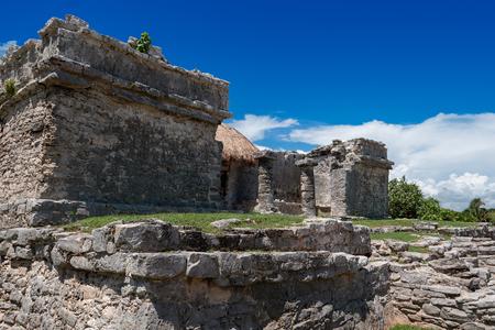 Mayan Ruins Besides Caribbean Sea. Riviera Maya, Traveling America 스톡 콘텐츠