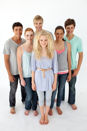 Group of teenagers standing in front of the camera Stock Photo - 10074394