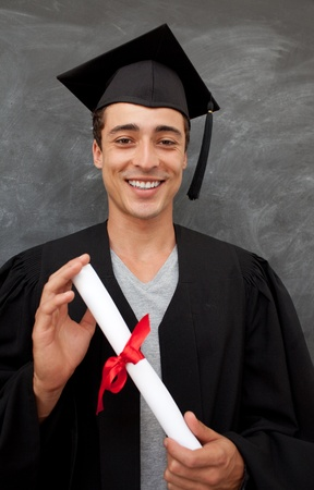 Teen Guy Celebrating Graduation in the class photo