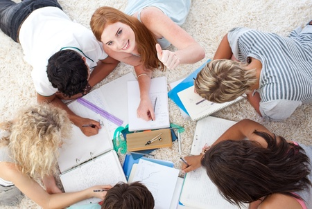 Group of Teenagers studying together Stock Photo - 10074113