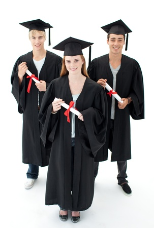 Group of teenagers celebrating after Graduation photo