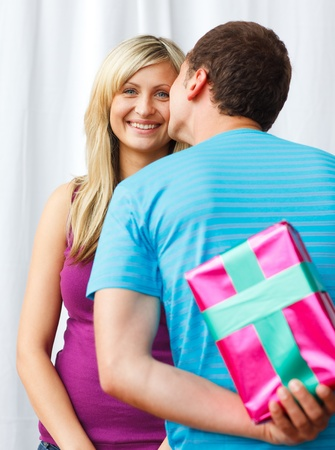 Man wait one kiss from his girlfriend Stock Photo - 10074717