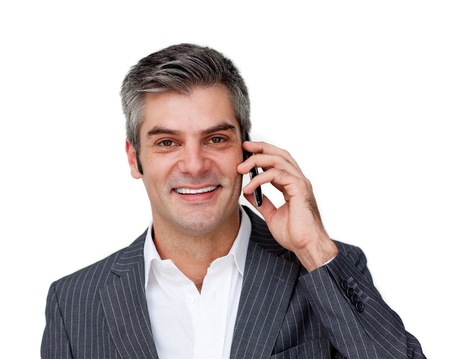 man phone: Self assured businessman talking on phone