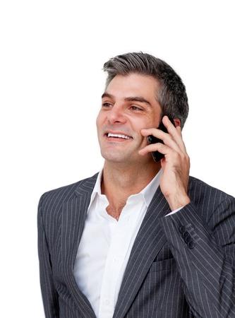Charming businessman talking on phone photo