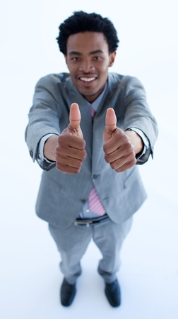 Afro-American businessman with thumbs up Stock Photo - 10071492