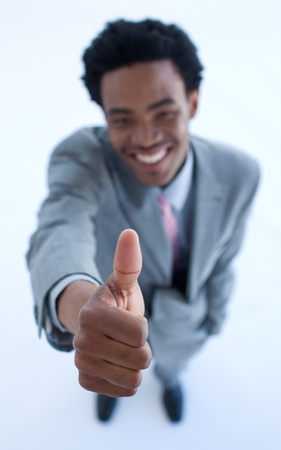 Successful businessman with thumb up Stock Photo - 10071579