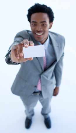 African businessman showing a small business card photo