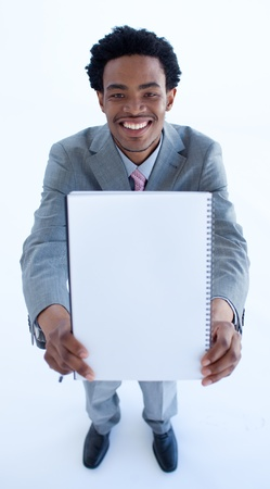 Afro-American businessman holding a big notebook photo