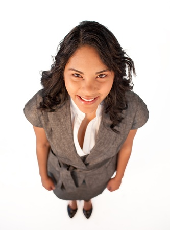 High angle of businesswoman smiling at the camera Stock Photo - 10073187