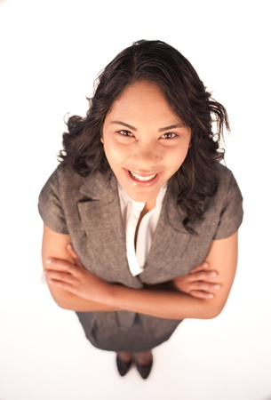 High angle of businesswoman smiling with folded arms Stock Photo - 10072451