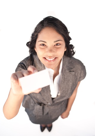 High view of a businesswoman holding a white card photo