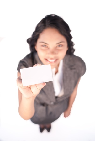 High angle of a white card hold by a businesswoman Stock Photo - 10071561
