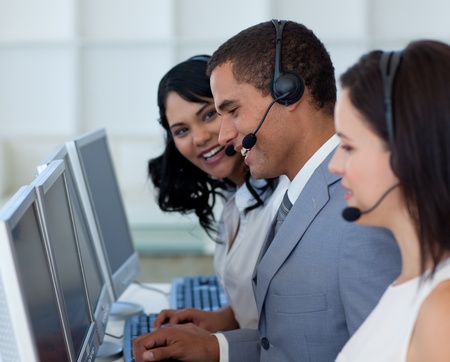 Hansome businessman in a call canter Stock Photo - 10072788