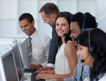 Business team working in a call center with a manager Stock Photo - 10073763