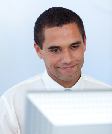 Businessman working with a computer Stock Photo - 10072346