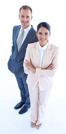High angle of smiling businesswoman and businessman photo