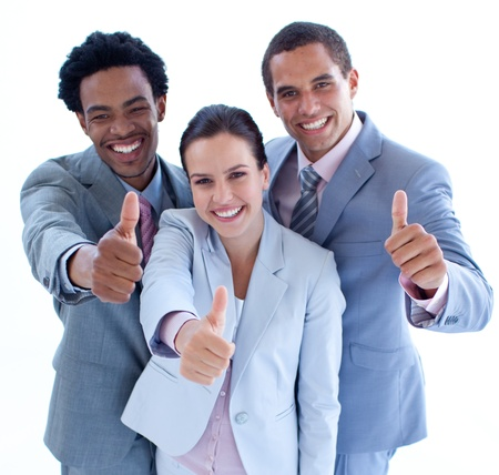 Close-up of happy business team with thumbs up photo