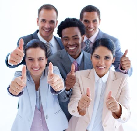 thumbs up group: Alto angolo di multi-etnica business team con i pollici in su Archivio Fotografico