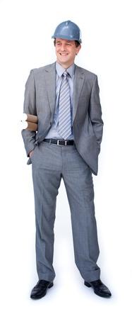 Charismatic male architect wearing a hardhat Stock Photo - 10076157