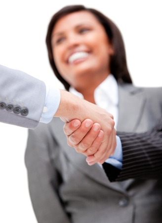 Cheerful businesswoman looking at her partners shaking hands Stock Photo - 10078110