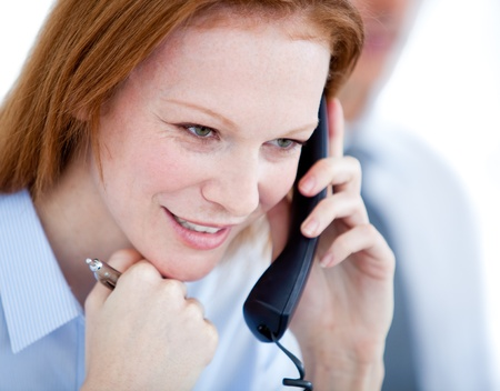 answering call: Confident businesswoman taling on phone