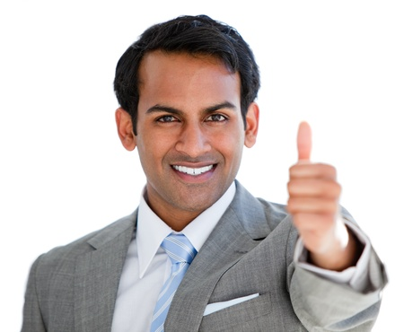 indian business man: Portrait of a cheerful businessman with a thumb up