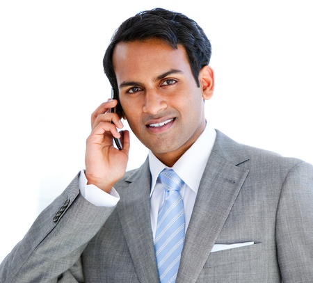 answering phone: Portrait of a businessman taking a phone call