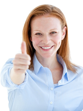 Self-assured business woman doing a thumb-up  photo