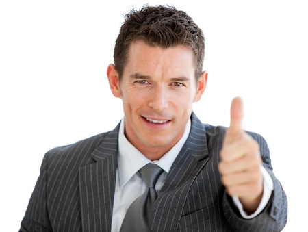 assertive: Assertive businessman with a thumb up  Stock Photo