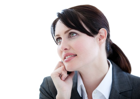 Portrait of an assertive businesswoman talking on phone Stock Photo - 10078047