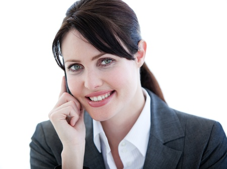 Portrait of a positive businesswoman talking on phone Stock Photo - 10078595