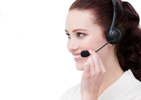 Representante de servicio al cliente sexy mediante auriculares