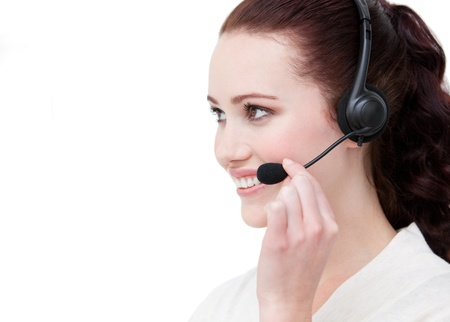 Sexy customer service representative using headset photo