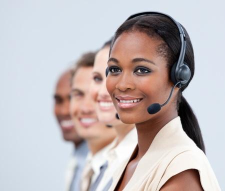 international business center: Cute businessteam smiling Stock Photo