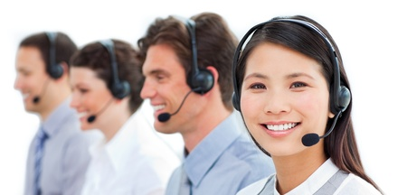 servicio al cliente: Representantes de servicio al cliente lindo  Foto de archivo