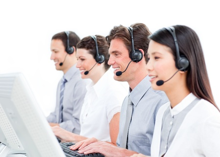 Smiling customer service representatives team  Stock Photo - 10078669